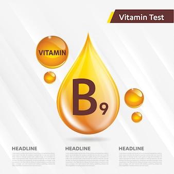 Modello pubblicitario di vitamina b9, colecalciferolo. goccia d'oro complesso vitaminico