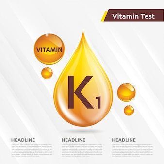 Modello pubblicitario di vitamina k1, colecalciferolo. goccia d'oro complesso vitaminico
