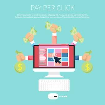 Modello pubblicitario su internet pay per click quando viene fatto clic sull'annuncio. monitorare con soldi in mano
