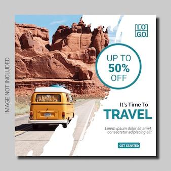 Modello quadrato dell'insegna della posta di media sociali di festa di viaggio