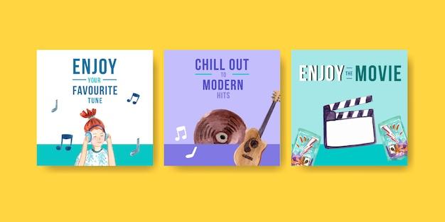 Modello quadrato post di instagram con un design moderno di musica e film