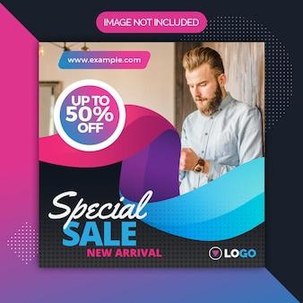 Modello quadrato post promozione post vendita per instagram