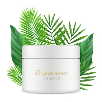 Modello realistico del contenitore di tubo dei cosmetici e delle foglie verdi