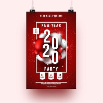 Modello realistico del manifesto del partito del nuovo anno 2020