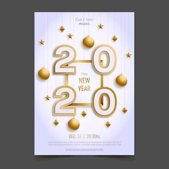 Modello realistico del manifesto di nuovo anno 2020