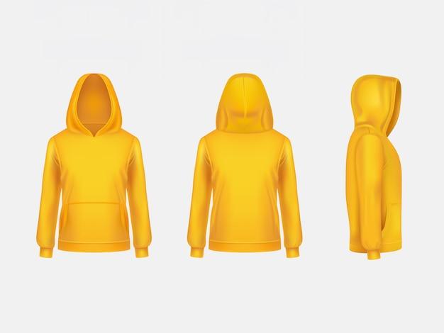 Modello realistico del modello 3d della maglietta felpata con cappuccio gialla su fondo bianco.