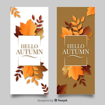 Modello realistico delle insegne di autunno con le foglie