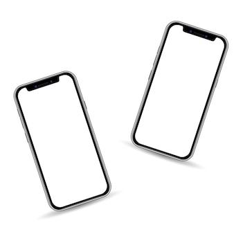 Modello realistico dello smartphone 3d isolato su fondo bianco, spazio della copia sul touch screen