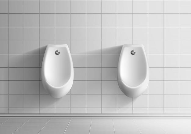 Modello realistico di vettore 3d della stanza della toilette pubblica degli uomini