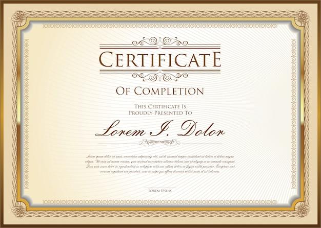 Modello retrò certificato o diploma