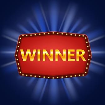 Modello retrò vincitore. vinci telaio vintage congratulazioni con lampade incandescenti, segno incorniciato complimenti d'oro. vincitore del premio jackpot della lotteria