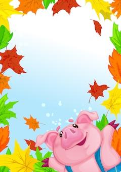 Modello rettangolare con piggy divertente e foglie di autunno colorate cadute.