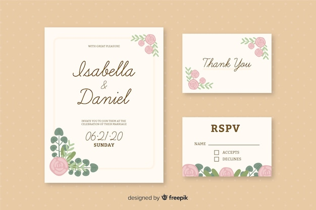 Modello romantico di inviti per partecipazioni di nozze