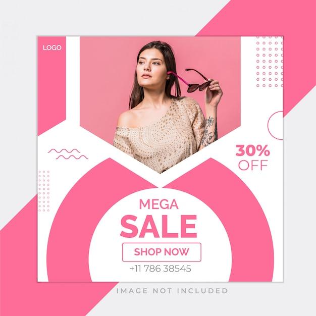 Modello rosa della posta del instagram di media sociali di vendita