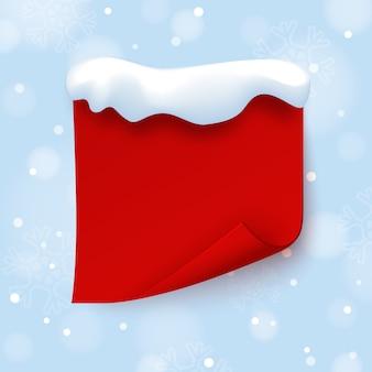 Modello rosso dell'insegna con il cappuccio della neve sull'inverno blu