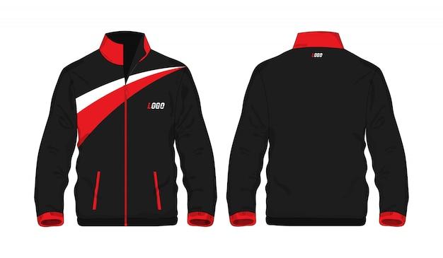 Modello rosso e nero del rivestimento di sport per il disegno su priorità bassa bianca. illustrazione vettoriale eps 10
