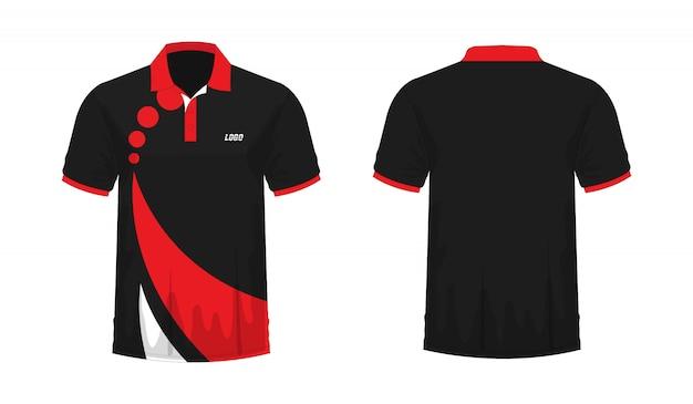 Modello rosso e nero di polo della maglietta per il disegno su priorità bassa bianca.