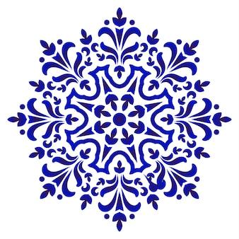 Modello rotondo floreale, ornamento decorativo ceramico circolare, mandala blu e bianca