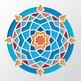 Modello rotondo geometrico arabo contemporaneo per carta da parati