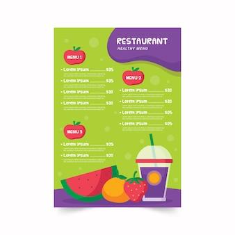 Modello sano variopinto del menu del ristorante dell'alimento illustrato