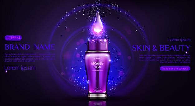 Modello scuro dell'insegna della bottiglia dei cosmetici