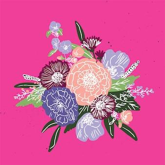 Modello semplice bouquet floreale