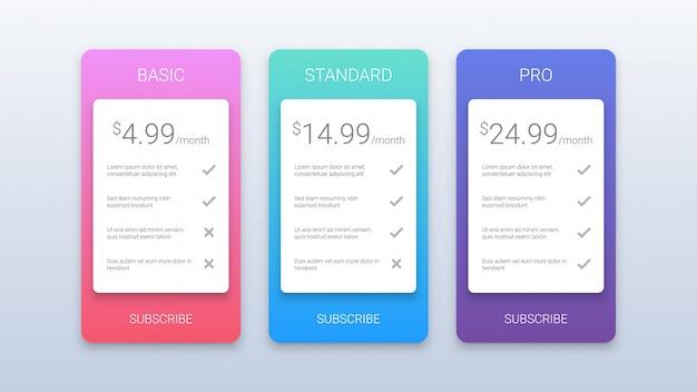 Modello semplice colorato piani tariffari per il web