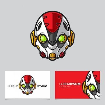 Modello semplice della carta di nome di logo della mascotte del robot