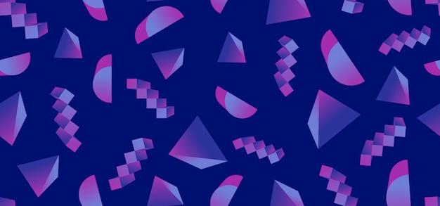 Modello senza cuciture 3d alla moda geometrica con forme astratte