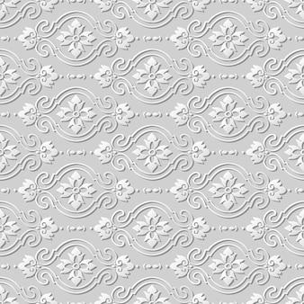 Modello senza cuciture 3d carta arte modello curva croce fiore ovale