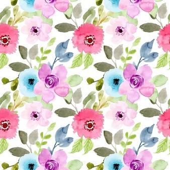 Modello senza cuciture acquerello bel fiore
