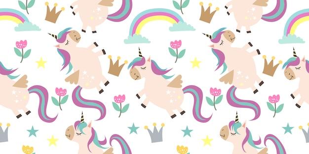 Modello senza cuciture adorabile unicorno