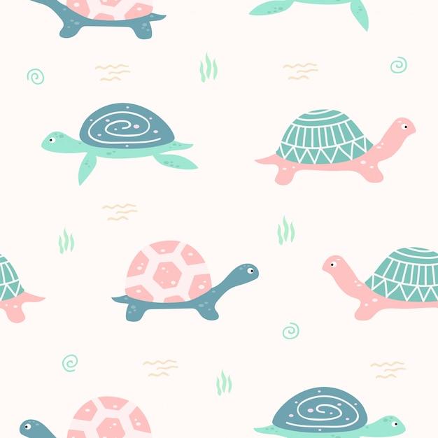 Modello senza cuciture animale sveglio della tartaruga per carta da parati