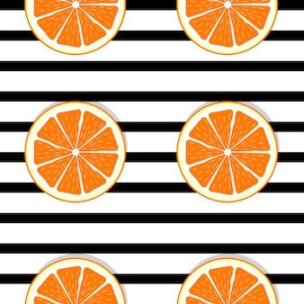 Modello senza cuciture arancio astratto con linee nere