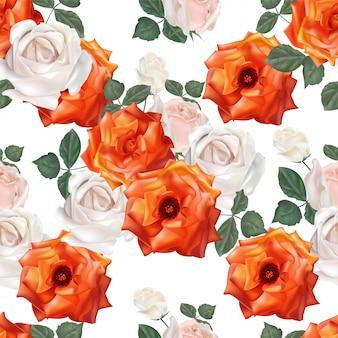 Modello senza cuciture arancio delle rose