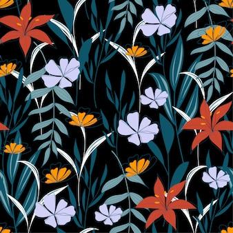 Modello senza cuciture astratto alla moda con foglie e fiori tropicali colorati su sfondo nero