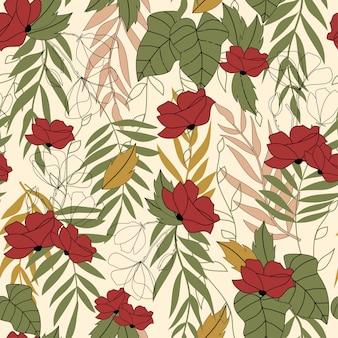 Modello senza cuciture astratto alla moda con foglie tropicali e colori vivaci