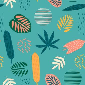 Modello senza cuciture astratto con foglie tropicali. trama di disegnare a mano.
