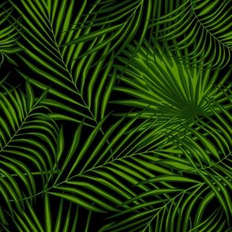 Modello senza cuciture astratto della pianta esotica sul nero