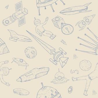 Modello senza cuciture astronomia disegnata a mano. sfondo con oggetti spaziali, pianeti, navette, razzi, satelliti e cosmonauti.