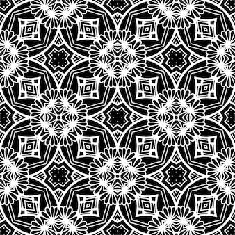 Modello senza cuciture batik bianco e nero, il batik indonesiano è una tecnica di tintura resistente alla cera applicata a tutto il tessuto