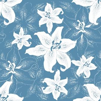 Modello senza cuciture bianco lilly fiori sul blu