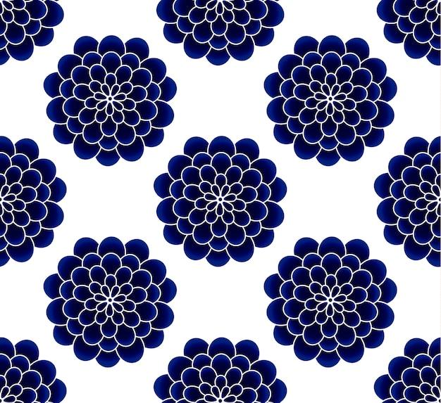 Modello senza cuciture blu e bianco del fiore ceramico del crisantemo