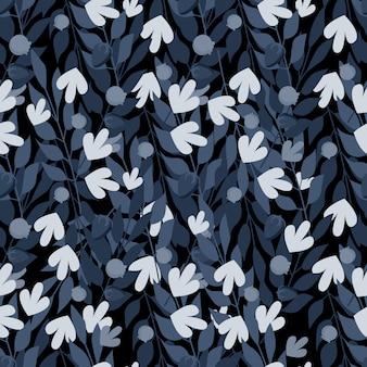 Modello senza cuciture blu foglie di erbe