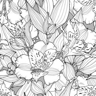Modello senza cuciture botanico con fiori, foglie e rami nei colori bianco, nero e grigio.