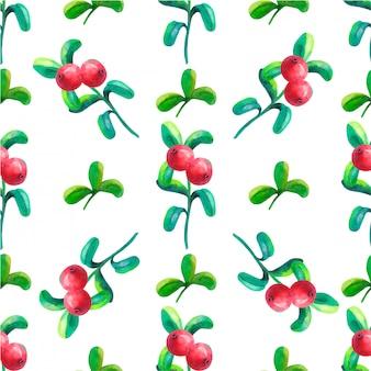 Modello senza cuciture botanico di disegno a mano con cowberry
