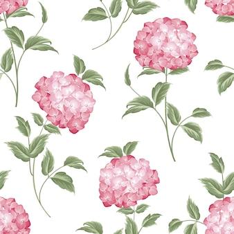 Modello senza cuciture botanico. fioritura di ortensie su sfondo bianco.