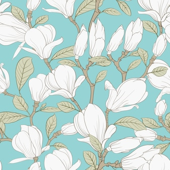 Modello senza cuciture botanico. magnolia fiore in fiore.