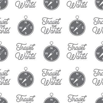 Modello senza cuciture bussola di viaggio. travel the world design del modello di carta da parati