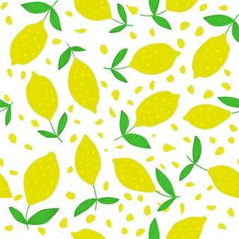 Modello senza cuciture carino limone con foglie
